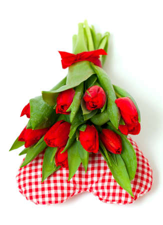 bunch of tulips on heart pillow Stock Photo - 15326317