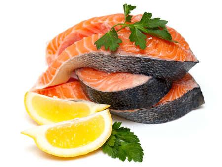 raw salmon isolated on white background photo
