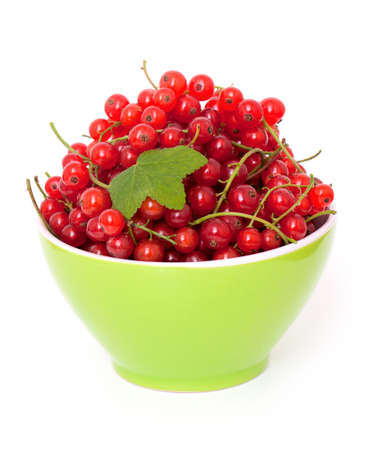 red currant: red currant in a bowl over white Stock Photo