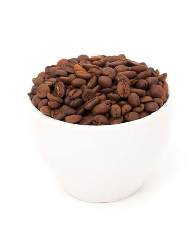 cup of coffee beans isolated on white background Stock Photo - 15988256