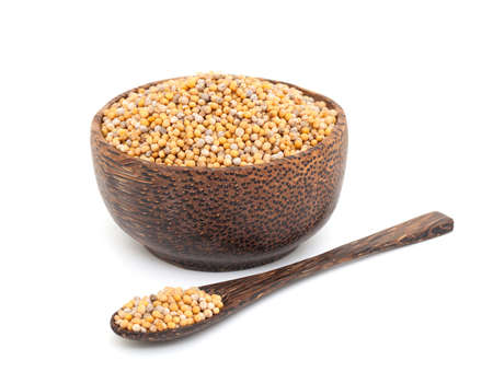 mustard in a wooden bowl Stock Photo - 16086120