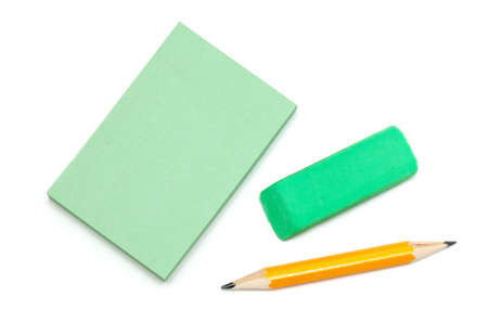note paper, grey pencil and eraser isolated on white background Stock Photo - 16086191