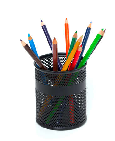 pencils in pencil holder isolated on white background Stock Photo - 16326299