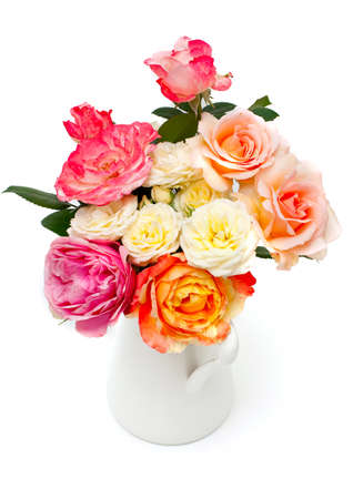 fresh garden roses in a pitcher isolated on white background photo