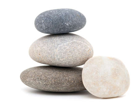 mineral stone: stone pyramid isolated on white background Stock Photo