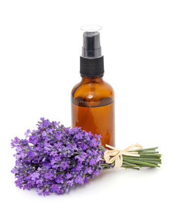 bottle of lavender oil and bunch of lavender flowers photo