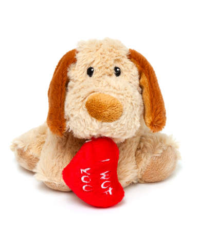snugly: plush toy dog with red heart isolated on white background