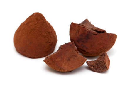 chocolate truffles isolated on white background photo