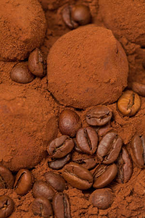 chocolate truffles and coffee beans photo