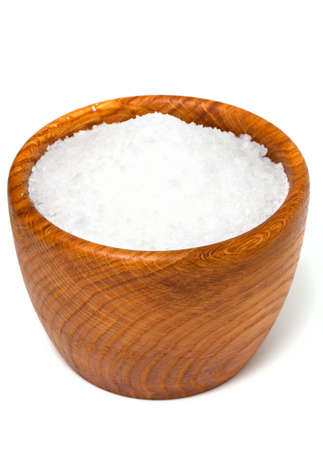 aroma bowl: sea salt in a wooden bowl