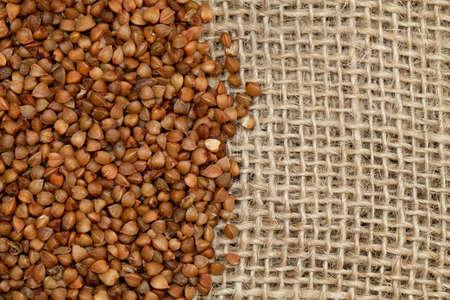 buckwheat on burlap Stock Photo - 16843456