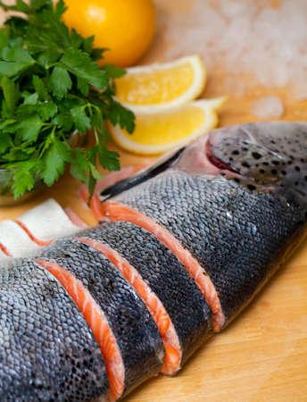 dog salmon: raw salmon on cutting board Stock Photo