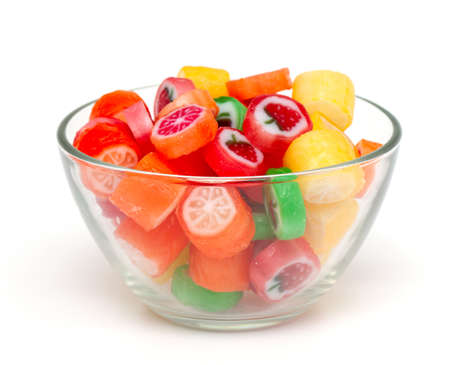 colrofull fruit candies in a bowl isolated on white background Stock Photo - 17089650