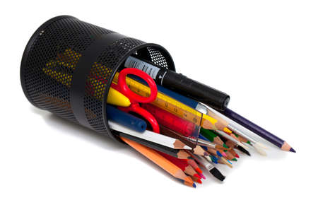 educational tools: pencils and other educational tools in support over white