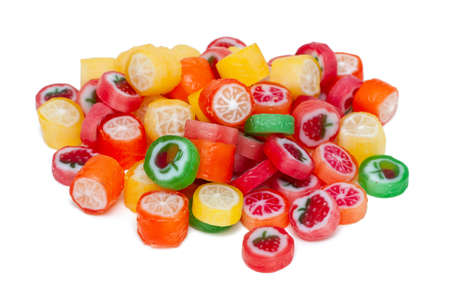 colorful candies on white background photo