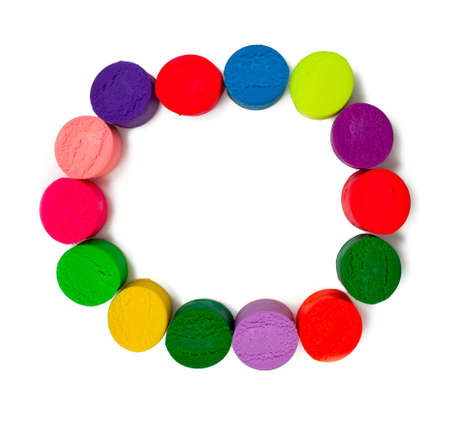 balance rainbow colors: frame made of colorful plasticine Stock Photo