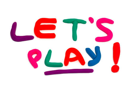 lets: plasticine lets play phrase over white