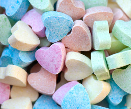 candy hearts: heart-shaped candies