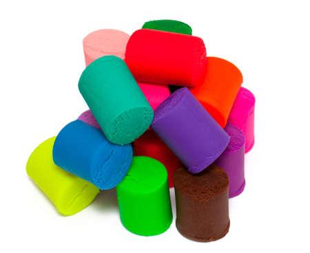 cilinder: heap of plasticine isolated on white background Stock Photo