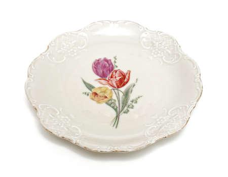 ceramiki: stary talerz na biaÅ'ym tle Zdjęcie Seryjne