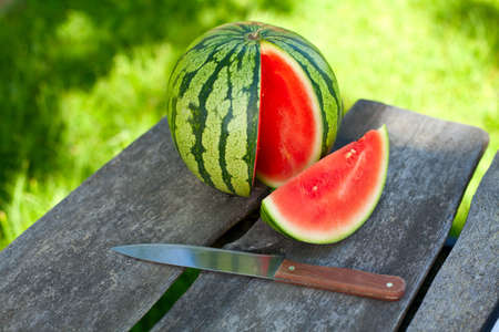 water melon on garden table Stock Photo - 18136292