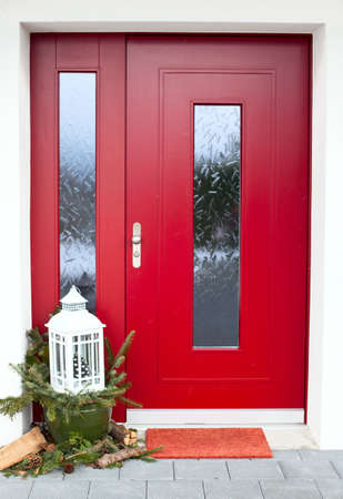 winter door exterior Stock Photo