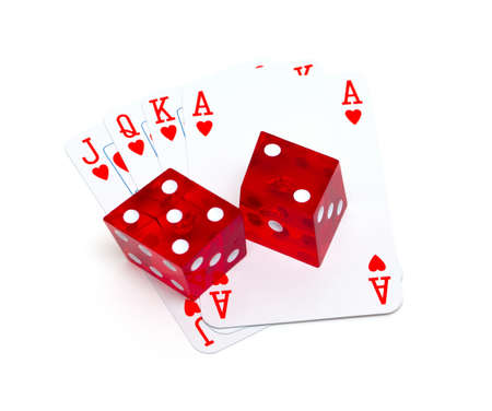 detach: playing cards and dice isolated on white background