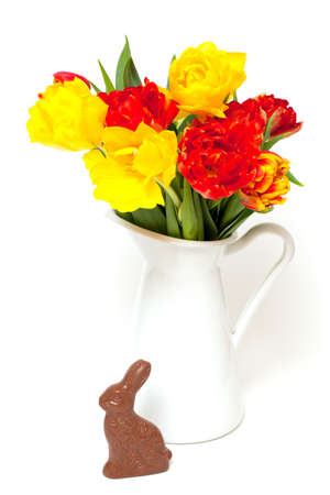 Easter bunny and tulips isolated on white background photo