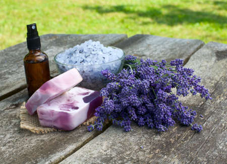 lavender cosmetics on wooden table photo