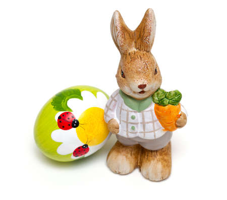 bugs bunny: Easter bunny and beautiful painted egg