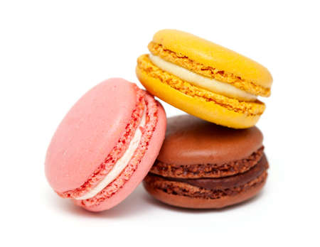 colorful macarons isolated on white backrgound photo
