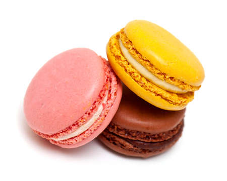 pastry: fresh macaroons isolated on white background