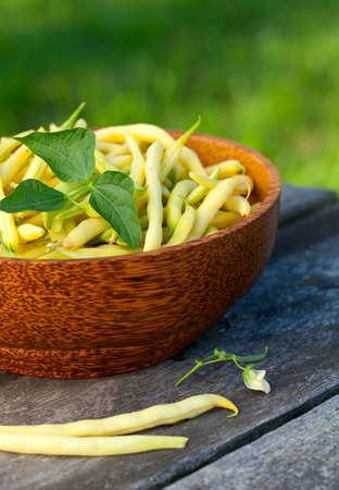 string beans in a wooden bowl Stock Photo - 18792544