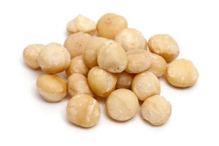 macadamia nuts isolated on white background Stock Photo