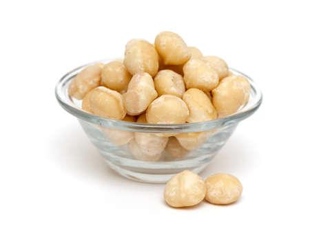 macadamia nuts isolated on white background photo