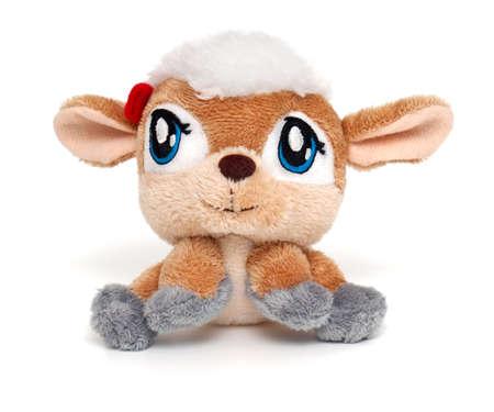 sheep soft toy isolated on white background photo