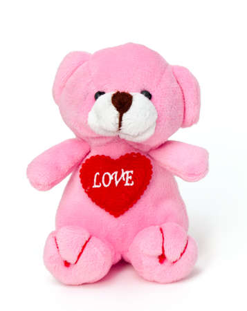 love proof: pink teddy bear toy isolated on white background