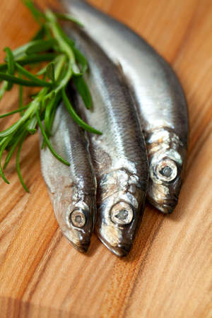 sprat fish and rosemary on wooden table Stock Photo - 19054849
