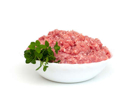 turkey minced meat isolated on white background photo