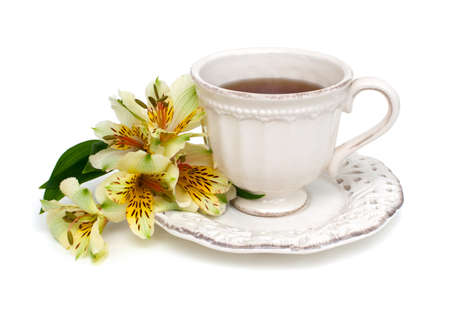 chicory coffee: cup of tea and flower isolated on white background Stock Photo