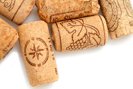 corked: vine corks isolated on white