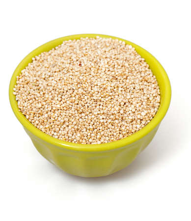 quinoa in a  bowl isolated on white photo