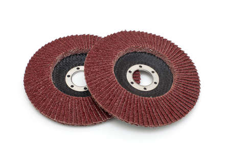 Abrasive disk for grinder isolated on white photo