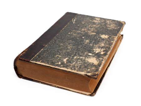 old book isolated on white background photo