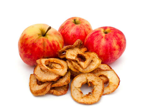 dried apples isolated on white photo