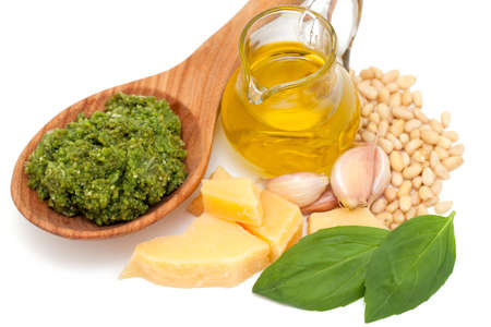 pesto ingredients isolated on white background photo