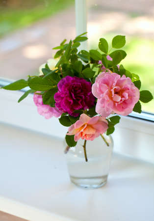 Roses in Glass Vase in Windowsil photo