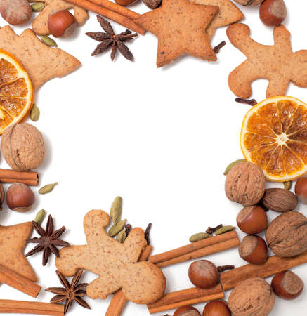 Christmas cookies and spices border Stock Photo - 20674686