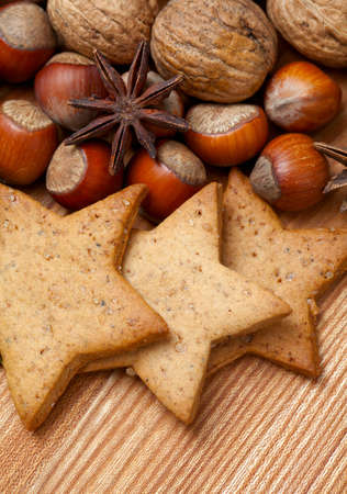 Christmas cookies and spices photo