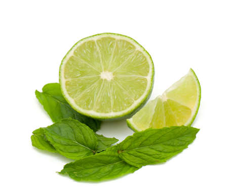 lime and mint isolated on white photo